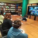 reunión online de autogestores en la sede de Plena inclusión Aragón